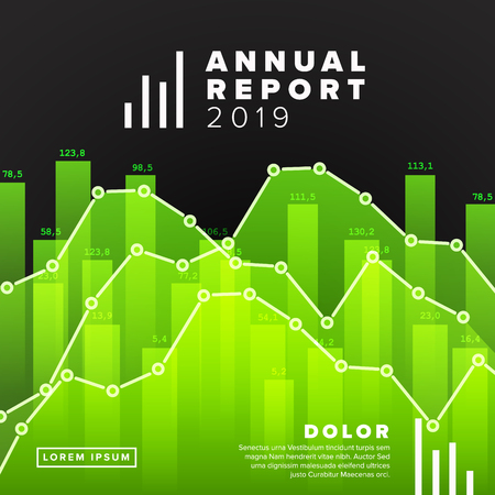 Vector abstract annual report cover template with sample abstract graphs - green version Çizim
