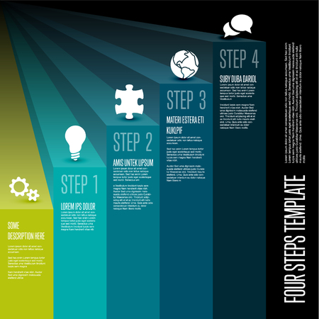 Vecotr Infographic steps diagram template for workflow, business schema or procedure diagram - vertical version with icons