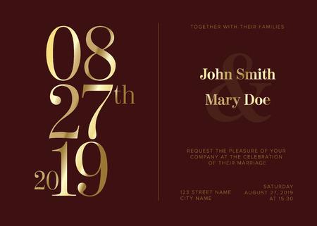 Vector dark Typography Wedding invitation card template with big golden numbers Çizim