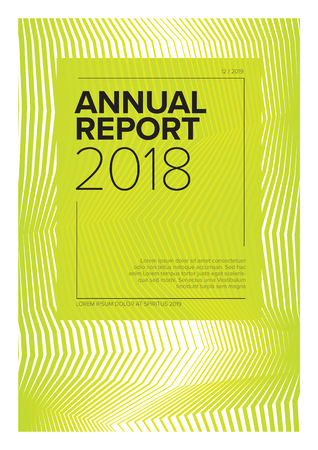 Vector abstract annual report cover template with sample text and abstract lines background  Çizim
