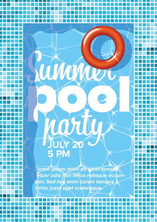 Vector summer pool party invitation flyer poster template with blue water background