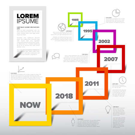 Vector Infographic timeline report template with icons Çizim