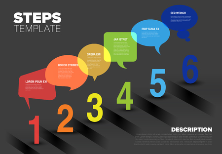 Vector progress speech bubbles template for six steps or options - dark background version
