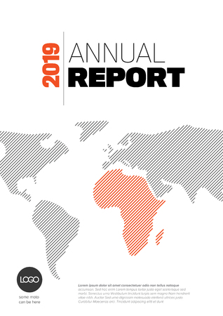 Vector abstract annual report cover template with sample text and world map made from lines Çizim