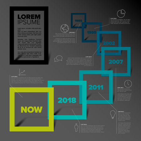 Plantilla de informe de línea de tiempo de infografía vectorial con marcos cuadrados, descripciones e iconos - versión en color verde azulado con fondo oscuro