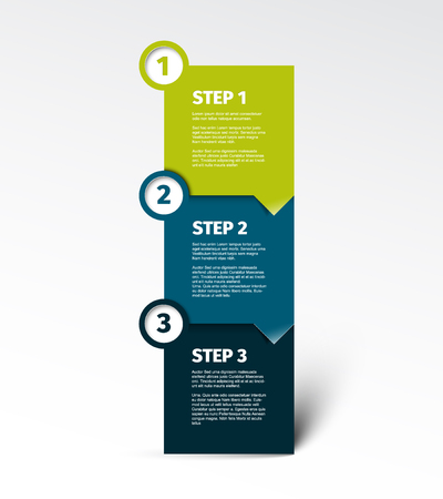 One two three - vector paper progress step blocks template with sample content and shadow