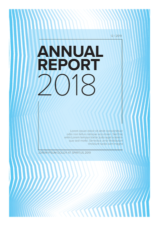 Vector abstract annual report cover template with sample text and abstract lines background - blue version