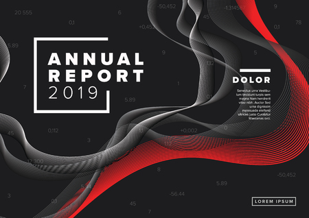 Vector abstract annual report cover template with sample text and abstract background - black and white version with red accent