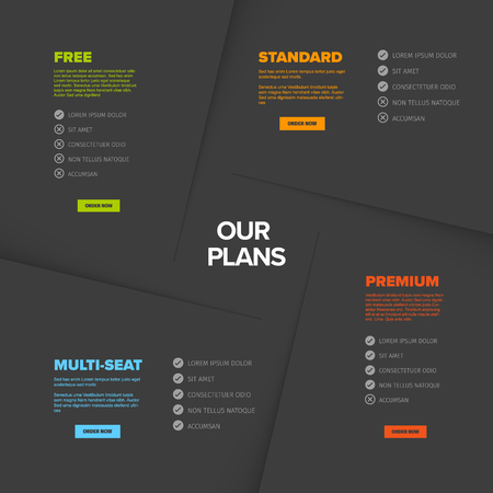 Product features schema template papers with four services, feature lists, order buttons and descriptions - dark version
