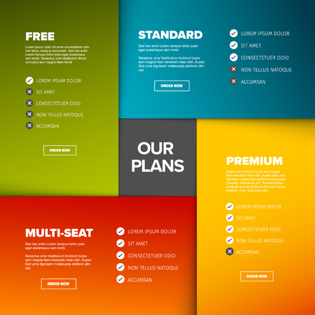 Product features schema template cards with four services, feature lists, order buttons and descriptions