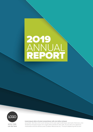 Vector abstract annual report cover template with sample text and abstract papers background Çizim