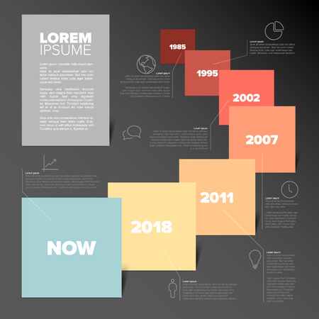 Vector Infographic timeline report template with squares, descriptions and icons -yellow redl color version with dark background Çizim
