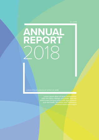 Vector abstract annual report cover template with sample text and abstract circles background - green version