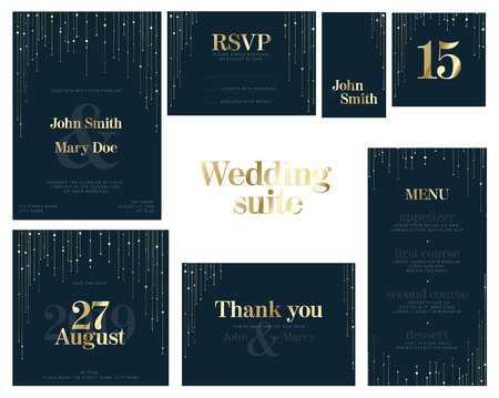 Modern dark Wedding suite collection card templates with golden labels and decorations - invitation, save the date card, rsvp, thank you card, table number, table name card, menu Çizim