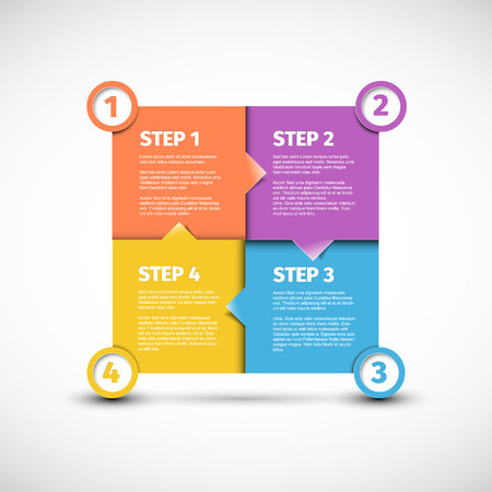 One two three four - vector paper Four steps cycle progress template blocks with sample content and shadow