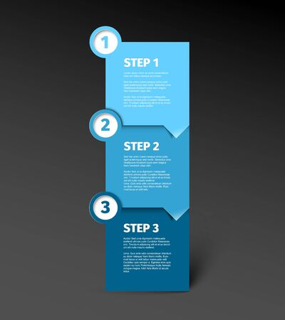 One two three - vector paper progress step blocks template with sample content and shadow - blue version with dark background