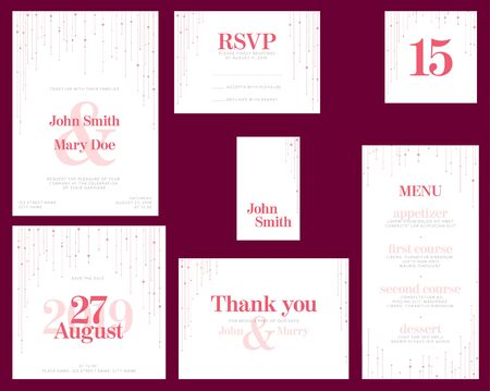 Modern pink Wedding suite collection card templates with pink labels and decorations on white - invitation, save the date card, rsvp, thank you card, table number, table name card, menu Ilustração Vetorial