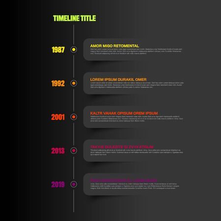 Vector Infographic timeline report template with icons and dark labels - dark version  イラスト・ベクター素材