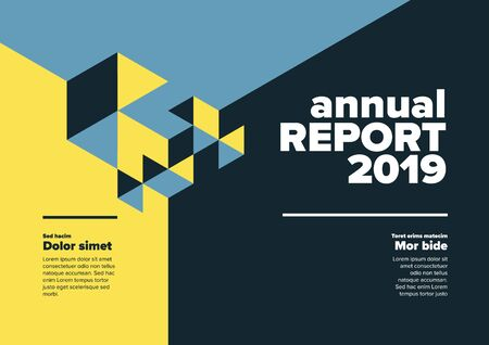 Vector abstract annual report cover template with abstract isometric illustration - blue and yellow  horizontal version  イラスト・ベクター素材