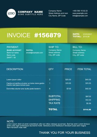 Vector minimalist invoice template design for your business  company - blue and green paper folded version