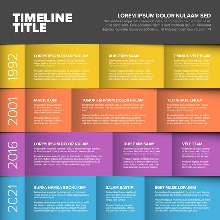 Vector multipurpose Infographic timeline table template made from four rows and various content blocks