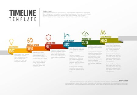 Vector Infographic Company Milestones Timeline Template with pointers on a straight diagonal colorful ribbon time line and light background  イラスト・ベクター素材
