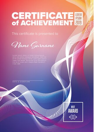Modern certificate of achievement template with place for your content - vertical fresh colors version with abstract lines