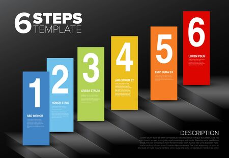Vector progress template for six steps or options and sample text content in blocks - on dark background