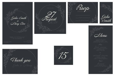 Modern dark Wedding suite collection card templates with light labels and floral decorations - invitation, save the date card, rsvp, thank you card, table number, table name card, menu