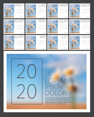 Vector calendar template with sample nature photo for the year 2020 - 12 sheets + cover