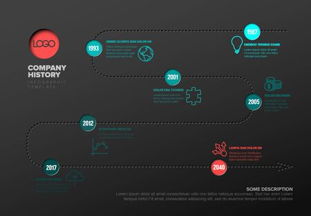 Vector Infographic timeline report template with icons and simple content - dark version with teal and red accent