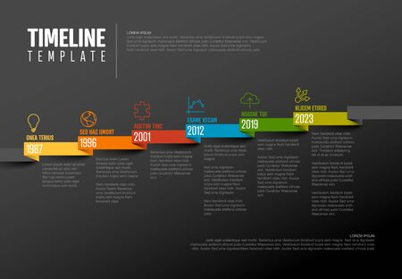 Vector Infographic Company Milestones Timeline Template with pointers on a straight diagonal colorful ribbon time line and dark  background  イラスト・ベクター素材