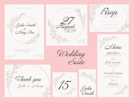 Modern pink Wedding suite collection card templates with pink flowers, labels and decorations on white - invitation, save the date card, rsvp, thank you card, table number, table name card, menu 向量圖像