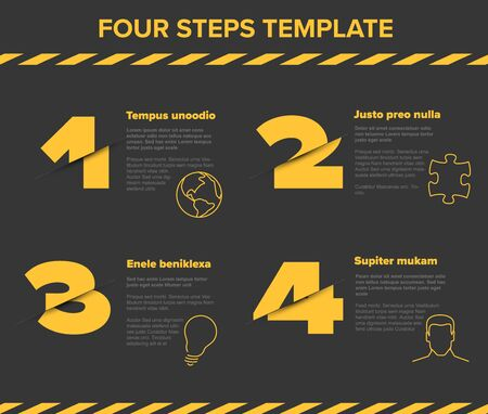 Vector modern four steps progress template with descriptions and icons - dark version with yellow cropped numbers