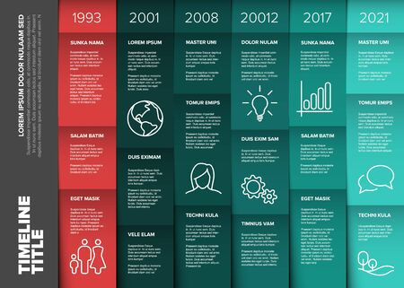 Vector multipurpose Infographic timeline table template made from six columns and various content blocks