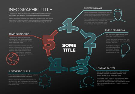 One two three four five - vector paper five steps cycle progress template infochart blocks with sample content Stock Illustratie