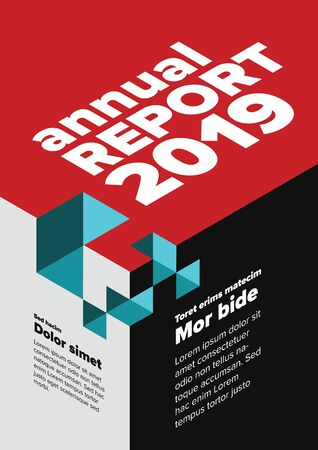 Vector abstract annual report cover template with abstract isometric illustration - black and white   vertical version with red and teal accent  イラスト・ベクター素材