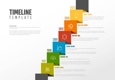 Vector Infographic Company Milestones Timeline Template with icons on a straight diagonal colorful ribbon time line and light background
