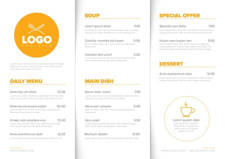 Modern light minimalistic restaurant menu template with three columns design layout and nice typography Ilustracja