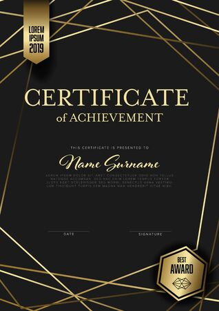 Modern certificate of achievement template with place for your content - vertical golden design