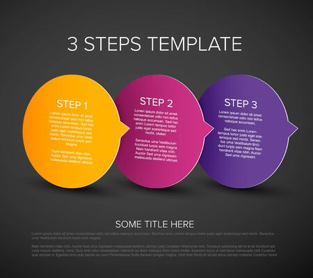 One two three - vector progress template for three steps or options on three circles - dark version