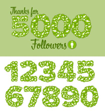 Thanks for 5000 followers status label template - with customizable numbers  イラスト・ベクター素材