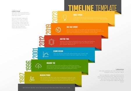 Vector Infographic Company Milestones Timeline Template with icons on a straight diagonal colorful stairs time line and light background