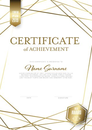 Modern light certificate of achievement template with place for your content - vertical golden design with white background  イラスト・ベクター素材