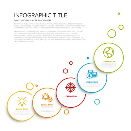 Vector multipurpose Infographic template with five circle options and modern colors on a light background