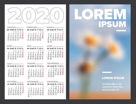 Business card size 2020 calendar template - front and back side
