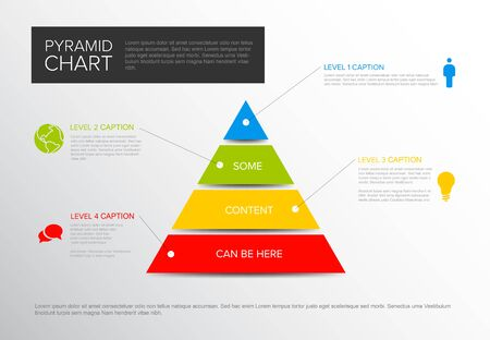 Vector solid Infographic Pyramid chart diagram template with icons