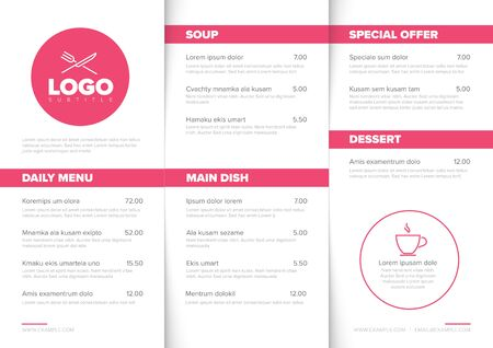 Modern light minimalistic restaurant menu template with three columns design layout, pink accent and nice typography 일러스트
