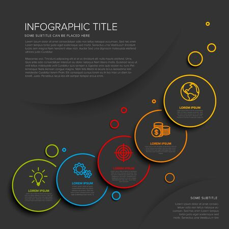 Vector multipurpose Infographic template with five circle options and modern colors on a dark background  イラスト・ベクター素材