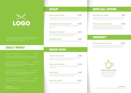 Modern light minimalistic restaurant menu template with three columns design layout, green accent and nice typography 스톡 콘텐츠